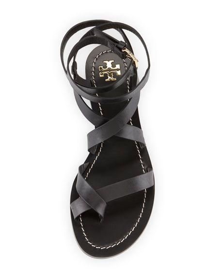 Tory Burch Patos Crisscross Leather Sandal, Black Gladiator Sandals