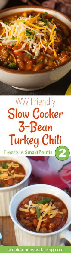 Here's a super simple, very basic recipe for Slow Cooker 3-Bean Turkey Sausage Chili I think you're gonna love. About 213 calories and 2 WW Freestyle SmartPoints - Simple-Nourished-Living.com