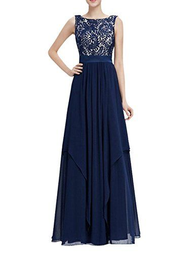 Skydue Women's Lace Chiffon Formal Evening Dresses Long Prom Party Gown US2 Navy Blue