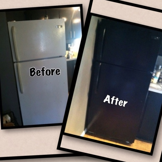 whoa mind blown we turned our old white refrigerator into a black refrigerator in 1 hr we. Black Bedroom Furniture Sets. Home Design Ideas