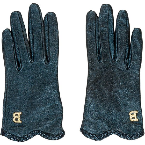Pre-owned Blumarine Metallic Logo Gloves ($80) ❤ liked on Polyvore featuring accessories, gloves, blue, blue leather gloves, blumarine, blue gloves, metallic gloves and leather gloves