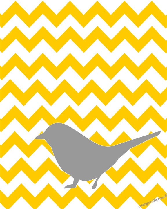 Gray bird on yellow chevron pattern. (8x10 digital print ...