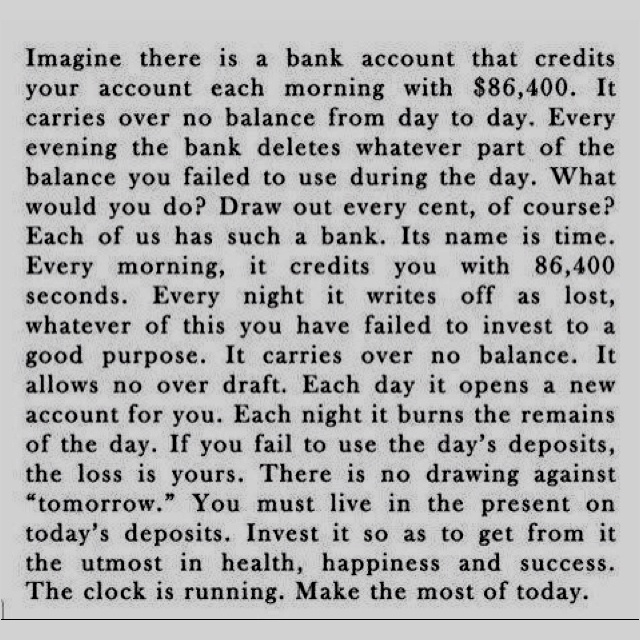 Time is the most precious thing we have! Use it wisely!