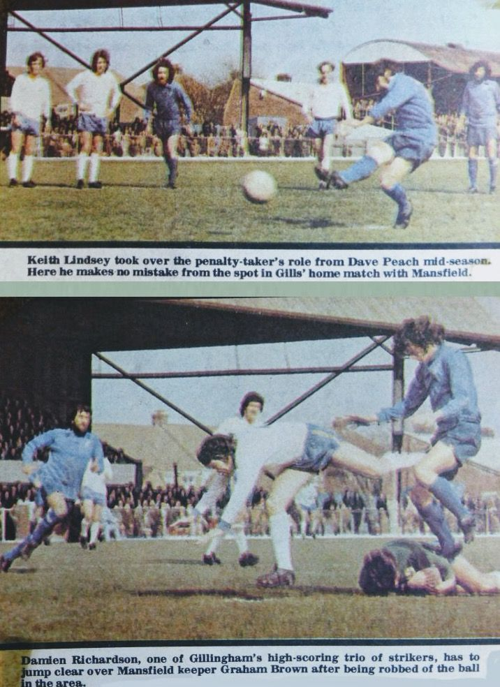 Gillingham 2 Mansfield Town 2 in April 1974 at Priestfield Stadium. Action from the Division 4 clash.