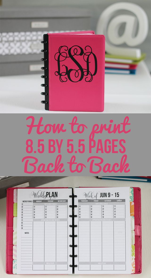 How to Print 8.5 by 5.5 Planner Pages