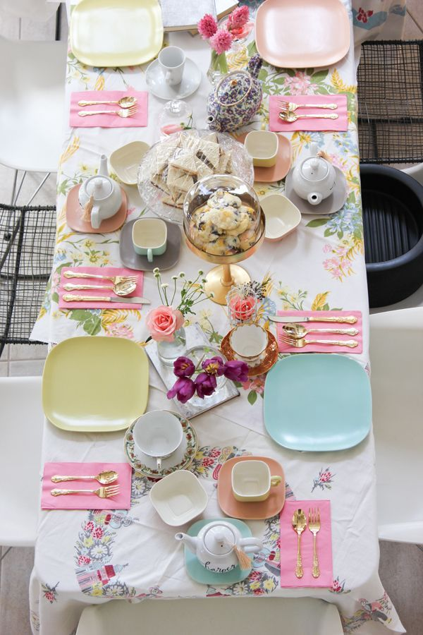 How beautiful is this table setting!? LOVE the pinks, blues and greens and the mix and match decor. Source: A Fabulous Fete: a 4th birthday tea party
