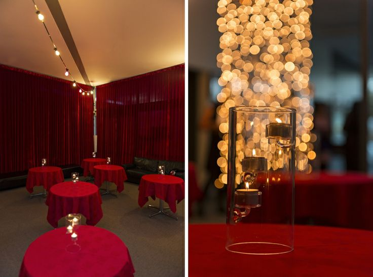 Use of festoon lights along with curtain fairy lights and candle centrepieces to create a warm effect