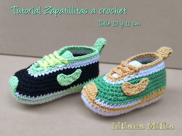 In this crochet tutorial we learning how to make baby shoes nike style  booties (size 0 a 3 months).
