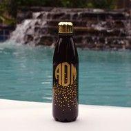 Monogram Stainless Steel Water Bottle - Black Confetti