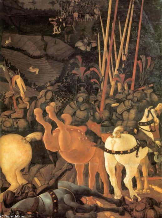 'Bernardino della Ciarda secoué son cheval (détail)', détrempe de Paolo Uccello (1397-1475, Italy)