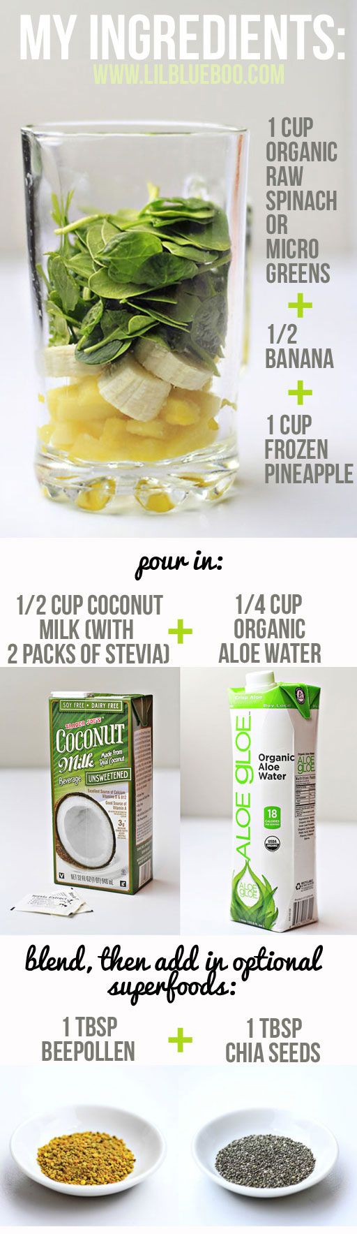 Green Colada Smoothie - Easy fruit smoothie recipe from LilBlueBoo