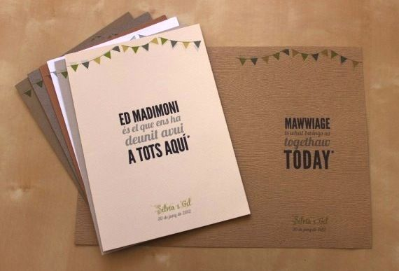 These bilingual wedding programs are awesome in both English AND Catalan