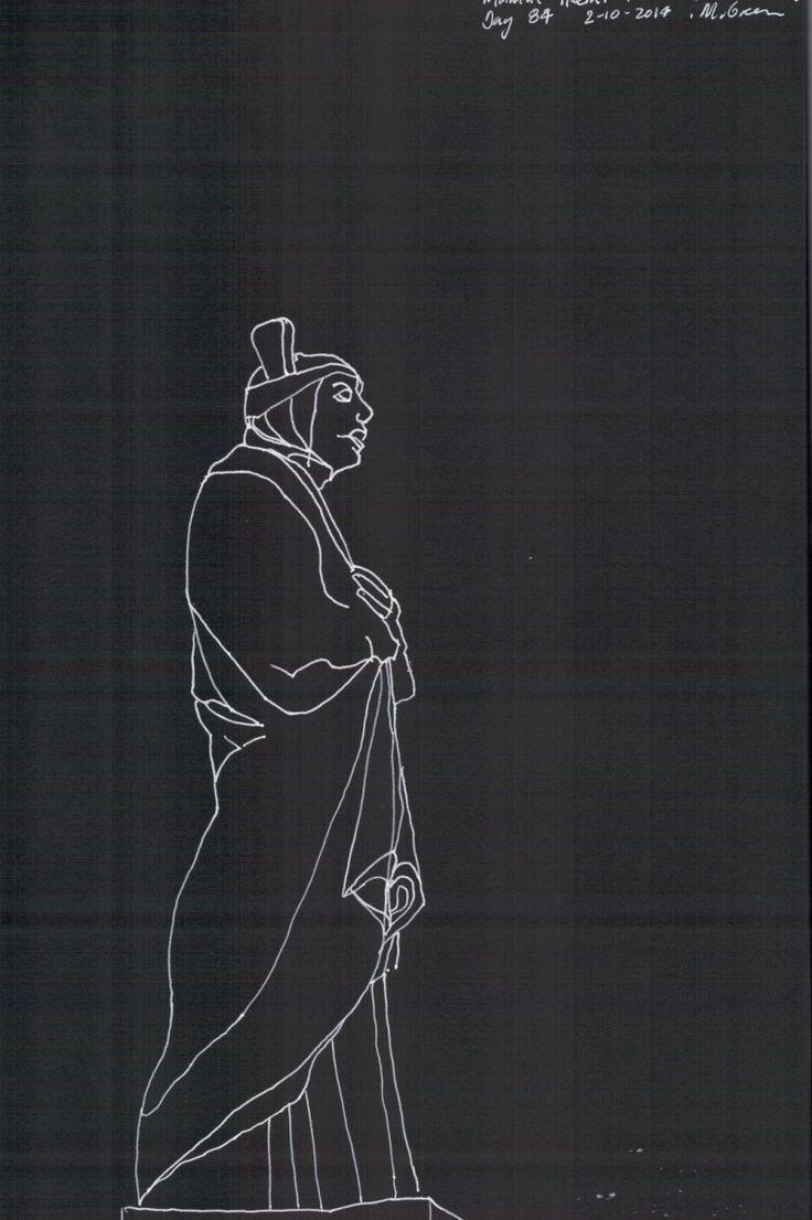 Statue Mamae Heemi Pitiroi, line drawing, Marita Green