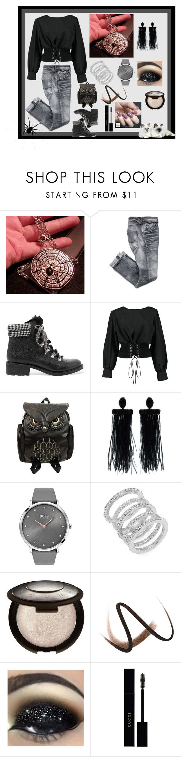 """""""Halloween Spider Web Pendant Necklace w/28-inch Rolo Chain"""" by bamasbabes ❤ liked on Polyvore featuring Sam Edelman, Boohoo, Oscar de la Renta, BOSS Black, Cole Haan, Burberry, Zoya and Gucci"""