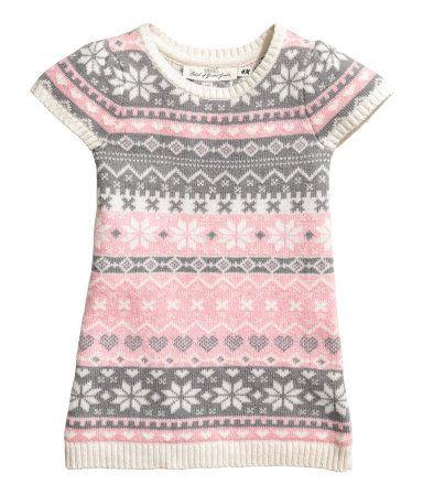 Jacquardstrikket kjole | Lys rosa | Barn | H&M NO