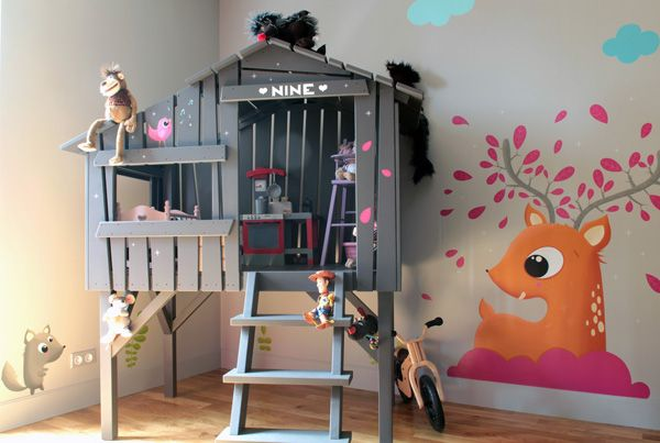 fresque murale decoration chambre enfant futur b b pinterest indoor playhouse and. Black Bedroom Furniture Sets. Home Design Ideas