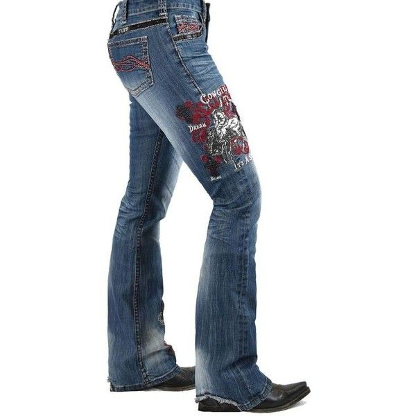 Unbelieveable Spirit Red Cowgirl Tuff Jeans ❤ liked on Polyvore featuring jeans, red jeans, blue jeans, red blue jeans, western jeans and cowgirl jeans