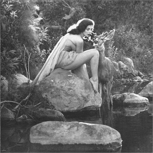 """✯ Flidais: She is the Celtic (Irish) Goddess of the Woodlands and wild things. Her name itself means """"doe, and she rides a chariot drawn by deer. Flidais owns herds of deer and cattle, and is equated with the Greek Pantheon's Artemis. Flidais is said to have a coracious sexual appetite. Her daughers were Fand, Be Chuille and Be Teite. 2 were considered Witches, and one was a Faery Queen. All of them were said to have sexual proclivities like their mother. ✯"""