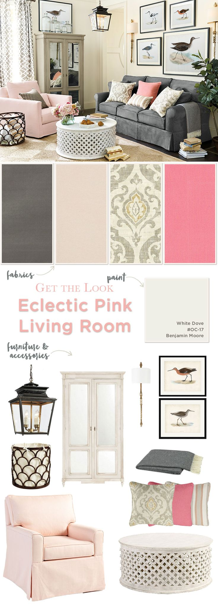 Get the look of this eclectic living room with pink accents