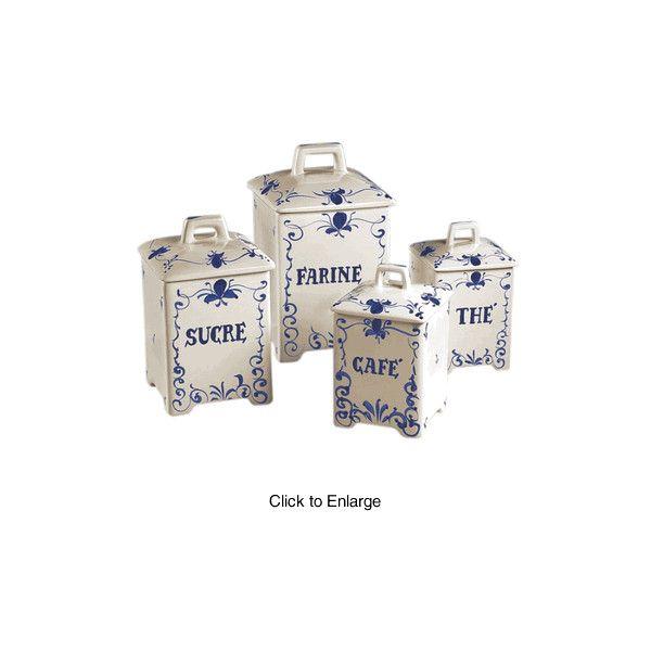 Blue French Script Kitchen Canister Set J