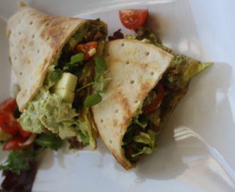 Wraps med guacamole og deilig krydret kjøttdeig