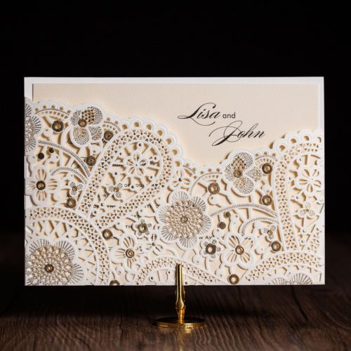21 best islamic muslim wedding cards images on pinterest white gilding free personlize laser cut wedding party invitation cards envelopes stopboris Image collections