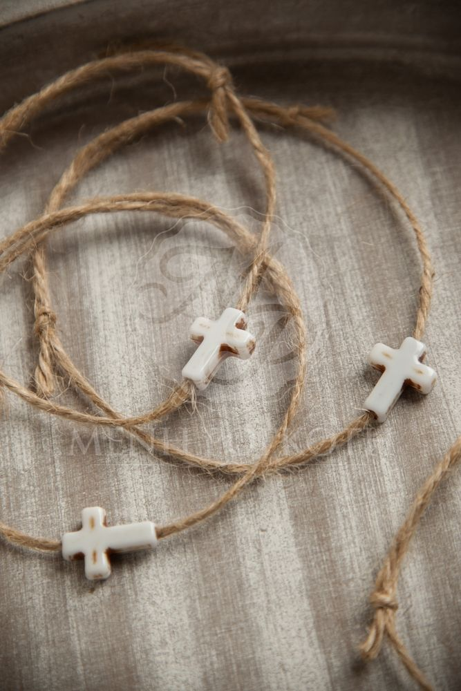 Μαρτυρικά βάπτισης με σχοινί και λευκό σταυρό