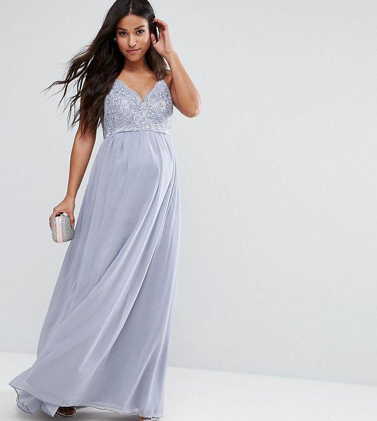 Chi Chi London Maternity Cami Strap Maxi Dress with Premium Lace - Gra