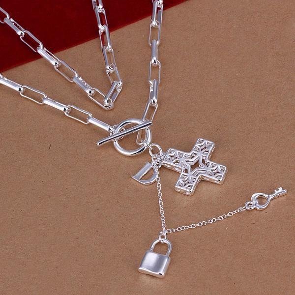 10 шт. 925 серебро цепочки ожерелье, 925 серебро Crosee и ключ кулон ожерелье