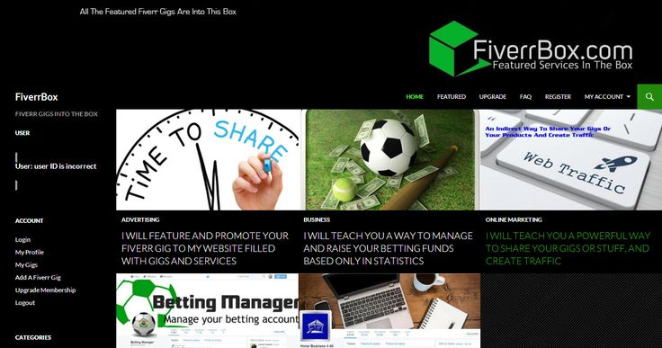 Get Your Fiverr Gigs Into The Box. Feature And Promote Your Fiverr Gigs.  Gain visibility outside Fiverr. http://www.FiverrBox.com