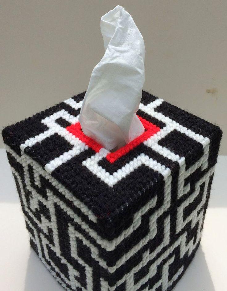 Maze Puzzle Tissue Cover handmade Boutique size acrylic yarn black & white  | eBay