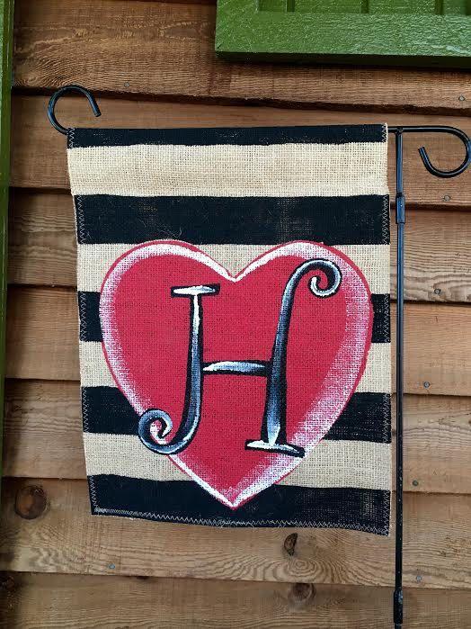 Burlap Garden Flag Valentine With Monogram By ModernRusticGirl