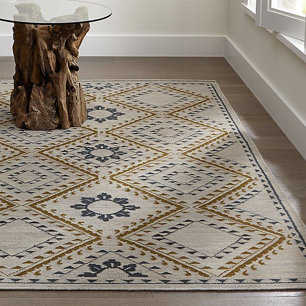 Bessie Dove Wool Dhurrie Rug | Crate and Barrel