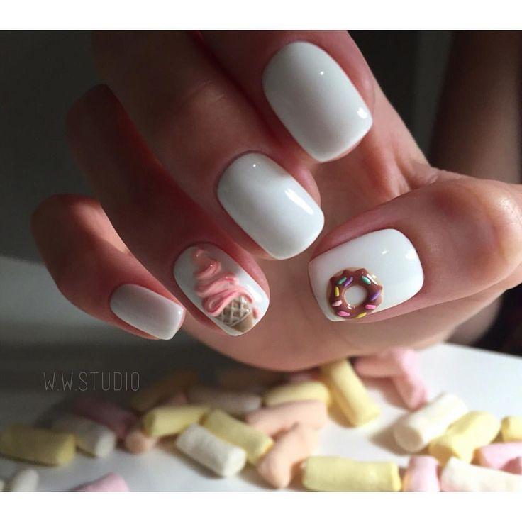 Accurate nails, Beautiful summer nails, Bright summer nails ideas, Ice-cream nails, Ideas of winter nails, Original nails, Plain white nails, Short nails 2017