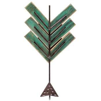 Antique Turquoise Wood & Metal Arrow Hook