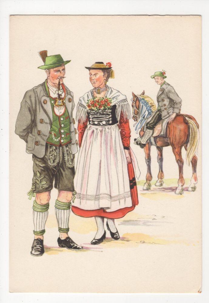 Germany, Bayerische Trachten, Miesbach-Schliersee Art Postcard -- Inspiration for Rare Dirndl / RareDirndl.com