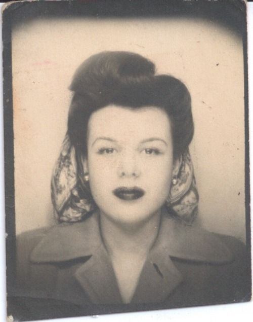 Photo booth photo c.1940's vintage fashion style found photo street snapshot portrait print hair snood coat jacket 40s war era