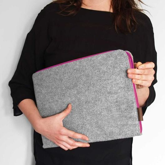 POKROWIEC NA LAPTOPA 01 szary filc zamek fuksja #feltsleeve #laptop #sleeve #macbook #case #feltcase #cover #macbookcover