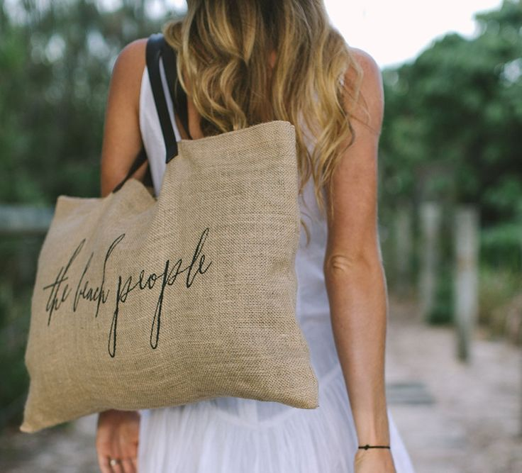 Jute Bag with Leather Handle - The Beach People