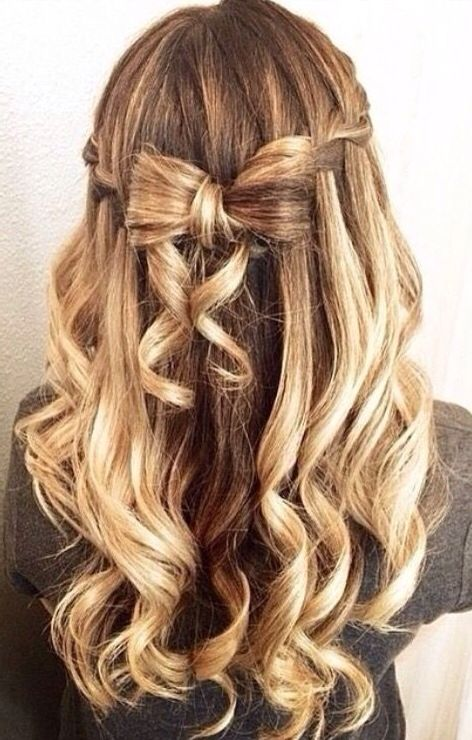 Curly half up half down braids and bow #gorgeoushair