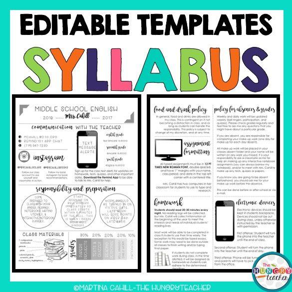 Best  Syllabus Template Ideas On   High School