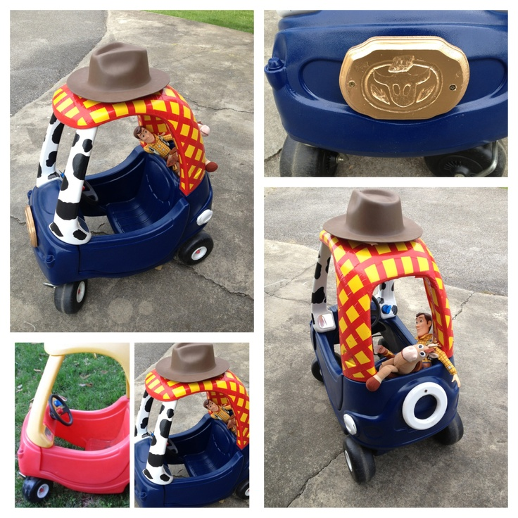 My husband and I redid a vintage Little Tykes Cozy Coupe to look like Woody from Toy Story! So fun!!