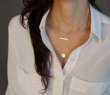 Duplo Banhado A Ouro Clavícula Cadeia Colar Mulheres Na Moda Venda Pingente de Colar Curto Colar de Jóias de Design Simples(China (Mainland))