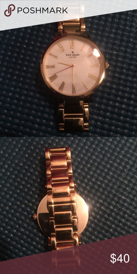 Kate Spade Gold Watch Great watch! Just don't wear it. Some wear, normal scratching on the band. Battery in perfect working condition- just replaced! 3 links taken out. kate spade Accessories Watches