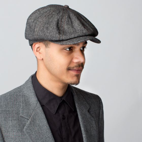 Frankie Jr. - A newsboy cap that refines everyday casual wear. Features a  classic herringbone print wool and a rounder d8312d751346