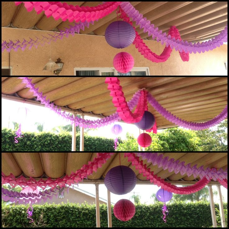Events party parties pink purple garland garlands ceiling for Backyard baby shower decoration ideas