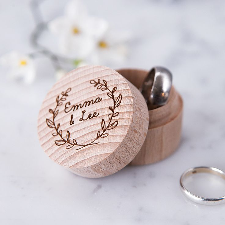 Engraved Personalised Wreath Ring Box - Proposal Ring Box - Wedding Ring Box - Rustic Ring Box - Personalised Couples - Engagement Gift by CloudsandCurrents on Etsy https://www.etsy.com/listing/230823663/engraved-personalised-wreath-ring-box