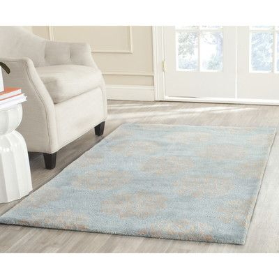 Alcott Hill Backstrom Hand-Tufted Turquoise / Yellow Area Rug Rug Size: Rectangle 11' x 17'