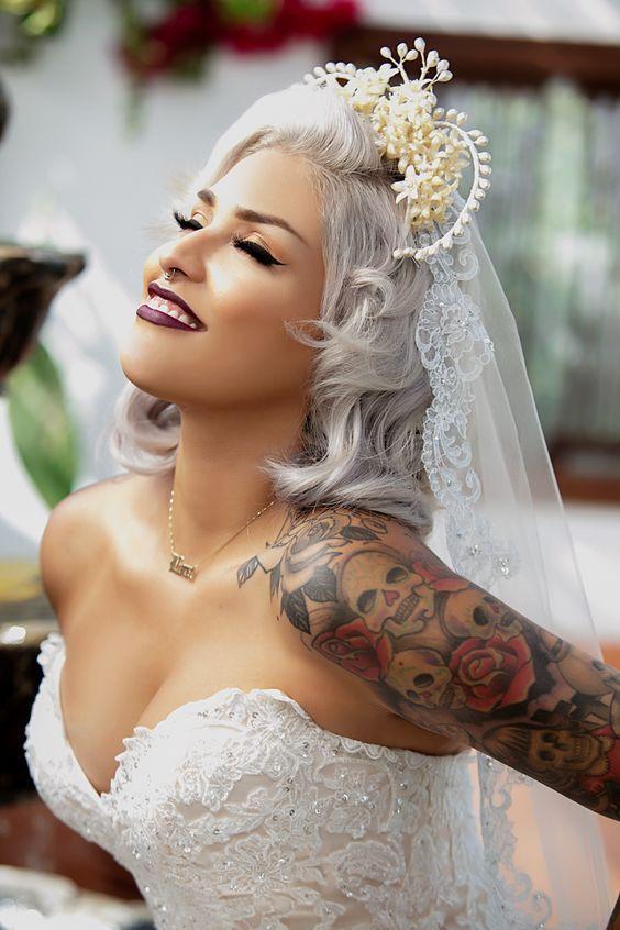 A beautiful tattooed bride
