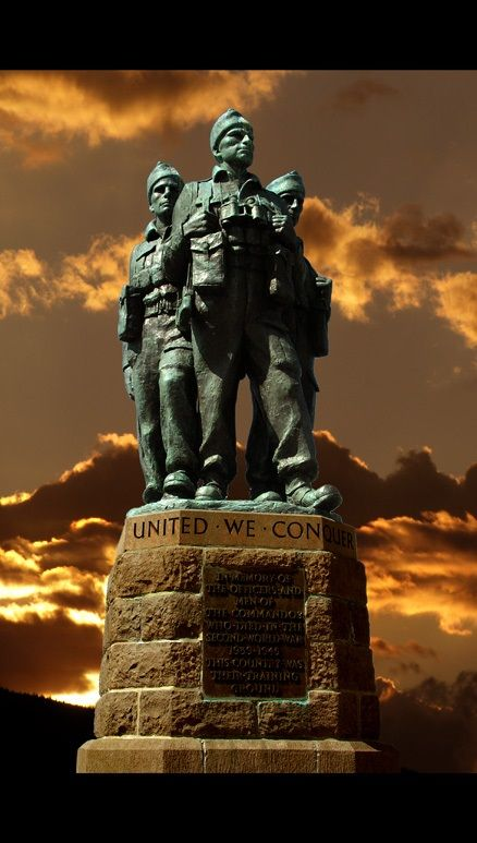 Commando Memorial at Spean Bridge Scotland. Sculpted by Scott Sutherland it was unveiled on 27th September 1952 by Lord Lovat and the Queen Mother.